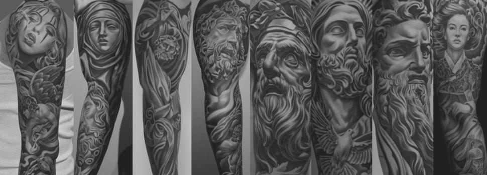 Тату доспехи - фото татуировки в стиле Блэк энд грей