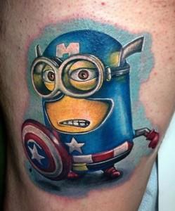 cute despicable me tattoo captain america