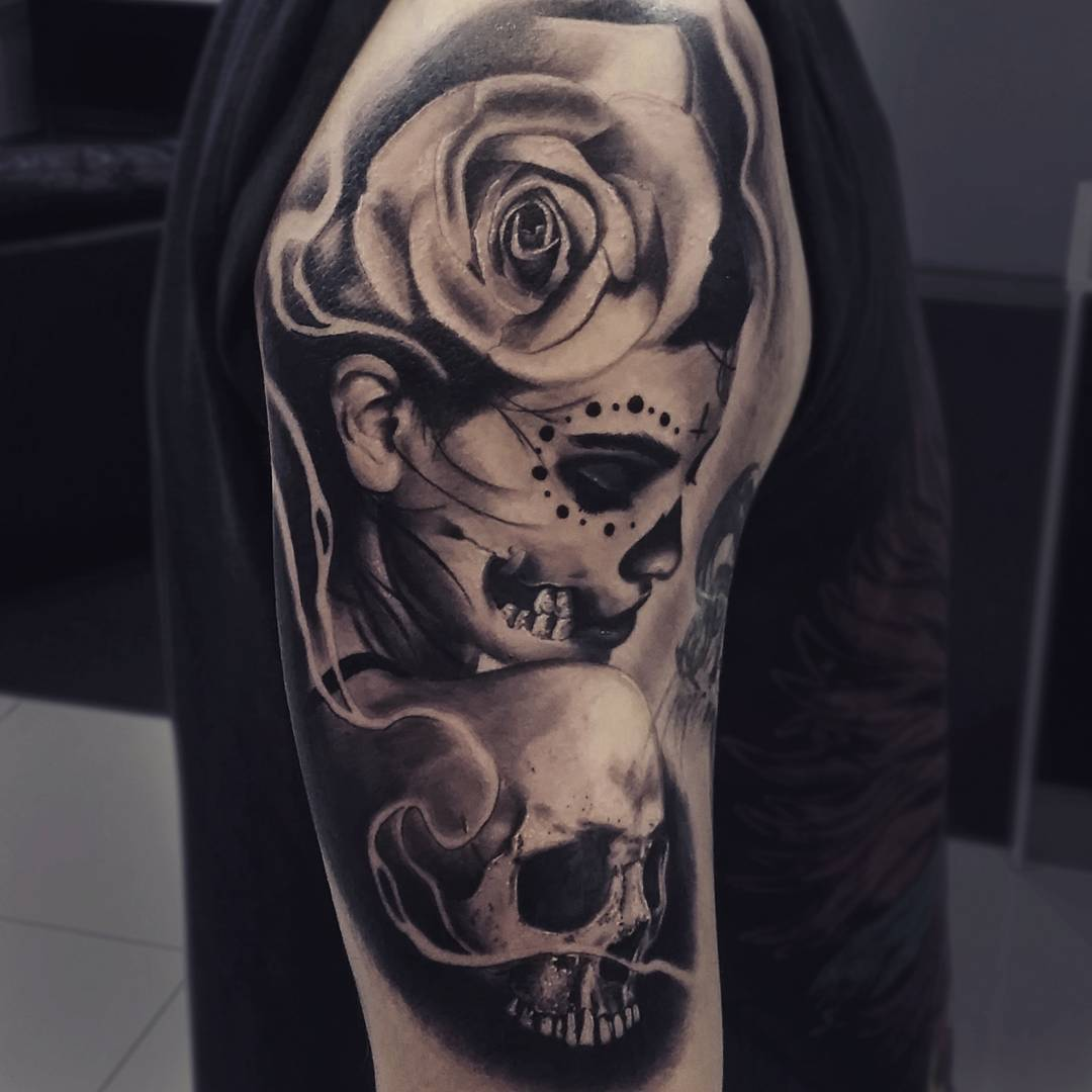 Day Of The Dead Roses Tattoo Designs