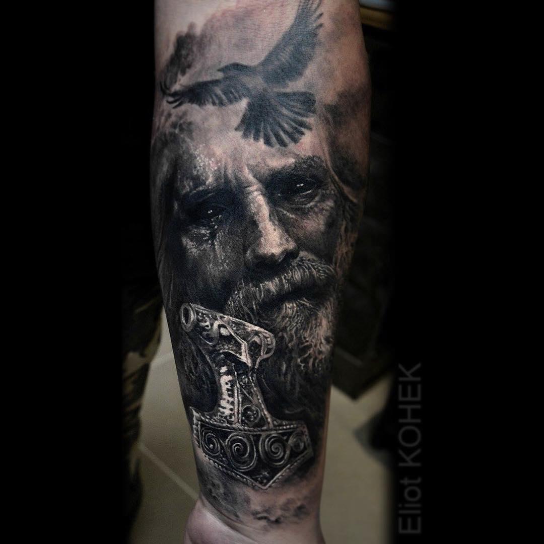 17 Viking Nordic Tattoo Designs Raven Banner Car