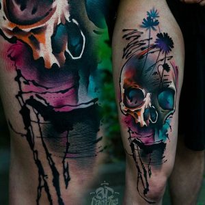 watercolour-tattoos-by-ad_pancho-skull-flower