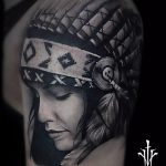 Girl-with-indian-headdress-portrait-tattoo-black-and-grey