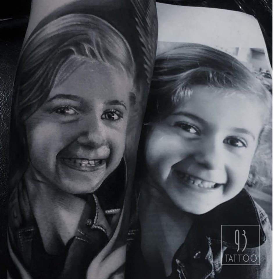 Black and grey portrait done by Tayla