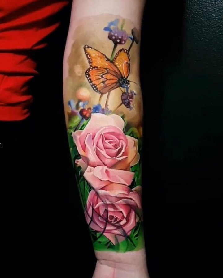 Exclusive Creation Realistic Colorful Flower and Butterfly Tattoo