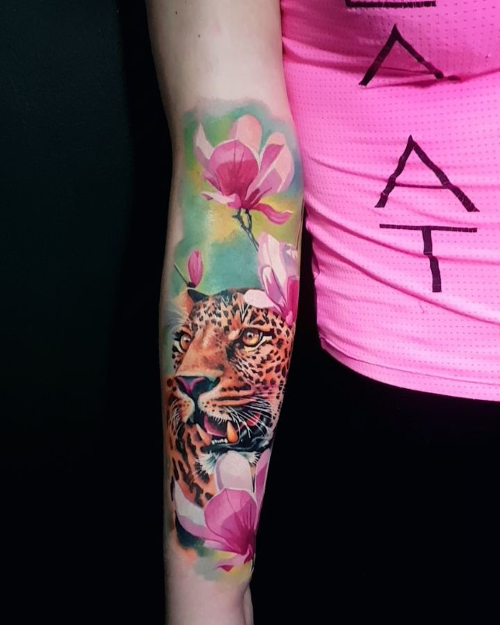 Exclusive Creation Realistic Colorful Tiger and Flower Tattoo
